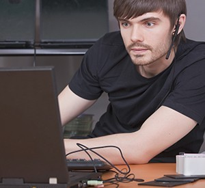 Softwre developer at his desk