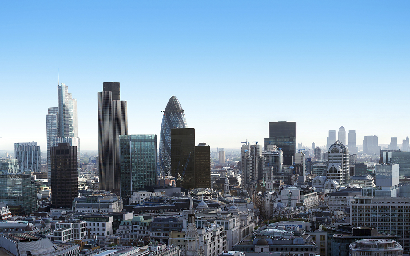 Panoramic image of the Financial districts of London