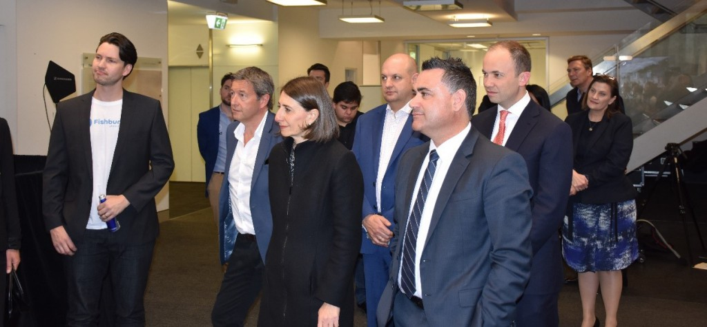 Murray Hurps (CEO of Fishburners), Richard Earl (Talent Founder and Executive Chair), Gladys Berejiklian (NSW Premier), Mark Nielsen (Talent APAC CEO), John Barilaro and Matthew Kean (left to right) among others, listening to one of the many interesting business pitches at Sydney Startup Hub launch